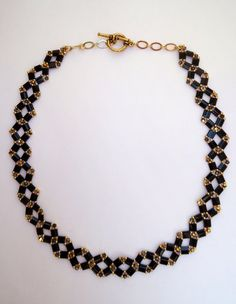 Choker style necklace black beaded necklace tila by JoolsbyAveril