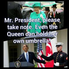 President Obama makes U.S. Marine break military rules by holding an umbrella while in uniform...Marines in uniform may only hold an umbrella for a lady.  Seems appropriate.