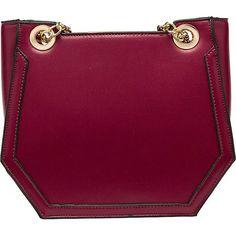 Melie Bianco Reed Geometric Shoulder Bag ($44) ❤ liked on Polyvore featuring bags, handbags, shoulder bags, purple, geometric purse, purple purse, chain strap purse, shoulder bag purse and purple handbags