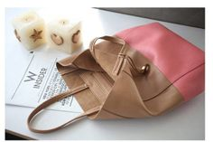 brown and pink  bucket shopping mixed genuine calf by starbag, $62.44