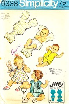 why would this pattern not still exist??? Simplicity Pattern 9338 Vintage 70's Newborn Layette - Simple To Sew One-Piece Snap On Suits! Complete Size 1-3 Months