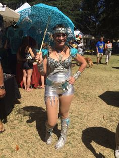 Blue battenberg lace parasols with silver space outfit. Perfect for the playa! From Parasols in Paradise