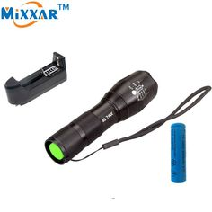 MiXXAR 4000 Lumens LED Flashlight. Waterproof and Zoomable. Rechargeable Battery and EU/US Charger