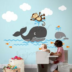 Wall Decal  Kids Wall Sticker Nursery Decal - Monkey - Whale Children decal - dd1054. $88.00, via Etsy.