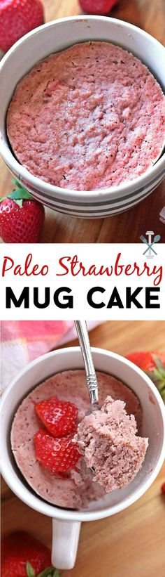 With a neat egg.This single serve paleo strawberry mug cake is so light and fluffy it will please any strawberry lover! Gluten-free dairy-free and refined-sugar free. Dessert Sans Gluten, Paleo Dessert, Mug Recipes, Paleo Recipes, Recipies, Low Carb Desserts, Healthy Desserts, Healthy Mug Cakes, Paleo Mug Cake