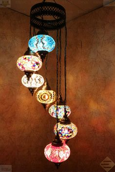 Multicolour Turkish Mosaic Hanging Lamp Light Hand Craft 7 Large Globe