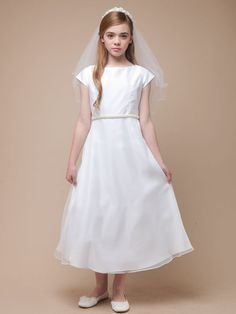 White Classic A-line Organza Dress With Pearl Belt