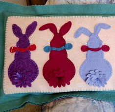 Five Bunnies are sweet in Easy-to-Do Wool Applique in cheerful Spring Colors.  Enjoy these little cuties for Easter & throughout the Spring Season. Finish as a long pillow or use as a Table Runner.