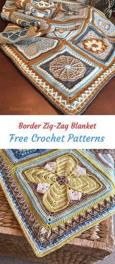 Border Zig-Zag Blanket Free Crochet Pattern #crochet #crafts #homedecor #handmade #blanket #style #idea #project #design