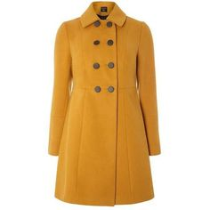 Ochre Double Breasted Swing Coat (175 BAM) ❤ liked on Polyvore featuring outerwear, coats, yellow coat, swing coat, dorothy perkins, double breasted coat and trapeze coat