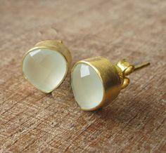 Peridot Stud Earrings Gold Stud Earrings Topaz Silver by Belesas