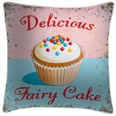 Delicious Fairy Cake Art Print Retro Cushion Martin Wiscombe from Sarah J Home Decor. $59.95