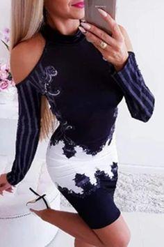 Purplish Blue Cold Shoulder Bodycon Dress – streetstylepop Mini Robes, Fashion Outfits, Womens Fashion, Style Fashion, Dress Fashion, Fashion Pants, Pattern Fashion, Sleeve Styles, Work Wear