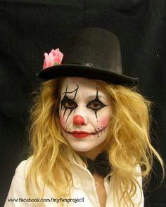 Scary clown Halloween facepainting by Jenny Rapti @ Funproject.gr www.facebook.com/myfunproject