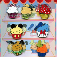 Walt Disney World Character Cupcake - Pin Set Pin This open edition mini-pin collection features the Disney characters as cupcakes. Pins in this set: - Mickey Mouse - Minnie Mouse - Donald Duck - Goofy - Pluto - Tinker Bell - Marie (Aristocats) Walt Disney, Disney Merch, Disney Food, Disney Magic, Disney Stuff, Pluto Disney, Disney Pin Trading, Hollywood Studios, Disney Cupcakes