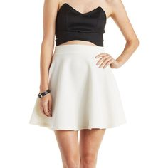 Charlotte Russe Ribbed Knit Skater Skirt ($17) ❤ liked on Polyvore featuring skirts, mini skirts, white, white flared skirt, flared mini skirt, circle skirt, skater skirt and short mini skirts