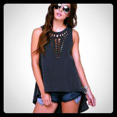NWOT Black High Low Tunic Tee w cut out detail L Black cotton. High low. Sleeveless Tops Muscle Tees