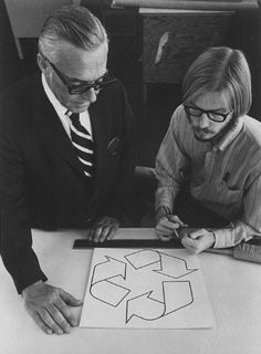 Gary Anderson (right), creator of the recycling symbol, 1970. Anderson was a 23-year-old USC Architecture graduate when he entered the Container Corporation of America's design contest to create what would become the universal symbol for recycling. Fumihiko Maki, Famous Logos, Recycling Logo, Kenzo Tange, Philip Johnson, Luis Barragan, Dean Anderson, Logo Design, Symbol Design