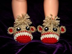 Sock Monkey Booties.. I wonder if you could make these in adult size?? My niece loves sock monkeys!