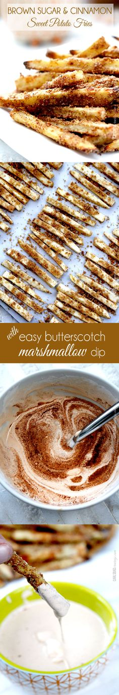 Fun Thanksgiving side! or Easy, delicious healthy snack or side - OR make these fries a fun dessert or appetizer with the easy AMAZING butterscotch marshmallow dip. You won't be able to stop eating these!