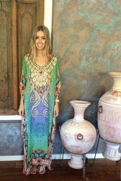 Gorgeous embellished silk kaftan available at www.facebook.com/jadela.jewels