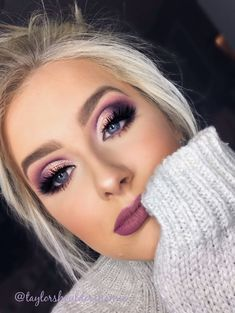 Cut crease. Purple eye makeup