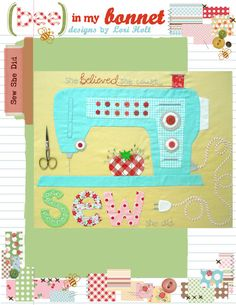 """Sew She Did by Lori Holt. Applique pattern fits 16""""x20"""" frame. $14.00 on Etsy at http://www.etsy.com/listing/98486421/sew-she-did?ref=shop_home_active"""