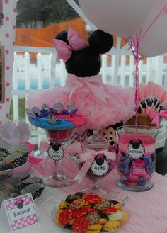 Awesome decorations at a Minnie Mouse party!  See more party ideas at CatchMyParty.com!  #partyideas #minniemouse