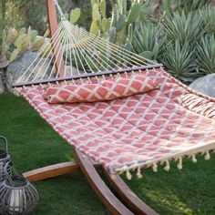 Island Bay 13 ft. Tuscan Lattice Quilted Hammock with Russian Pine Wood Arc Hammock Stand - ALZ1041