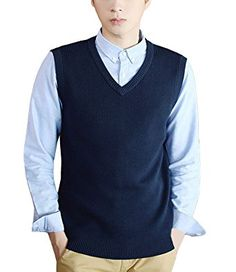 Nidicus Men Casual Cotton Soft Knitwear Solid V-neck Classic Sweater Vest Deeproyalblue XS Review