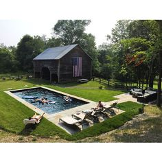 1832 Colonial Farmhouse with Swimming Pool // Flagatone// Stone Pavers // Old Barn // American Flag // Back Yard // Patio