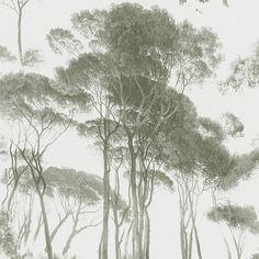 Woodlands Wallpaper - Green White 37651-2