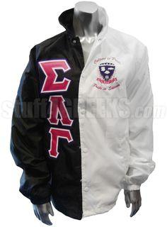 Sigma Lambda Gamma Two-Tone Line Jacket with Greek Letters, Motto, and Crest, Black/White  Item Id: PRE-TTXJ-SLG-LTR_MOTTO_CREST_BLK/WHT  Price:  $199.00