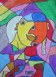 Elementary Art Lesson Self-Portraits Cubism Picasso oil pastel drawing