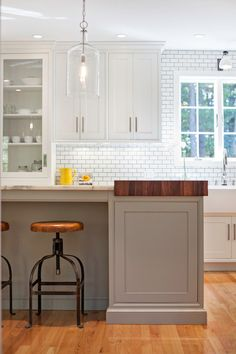 Pennville Custom Cabinetry - kitchens - ceiling height backsplash tile, ceiling height backsplash, two tone kitchen, white and gray kitchen,...