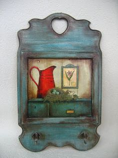 love the colour Primitive Painting, Tole Painting, Painting On Wood, Vintage Country, Vintage Wood, Country Decor, Wood Crafts, Diy And Crafts, Victorian Dolls