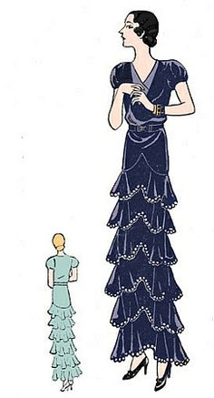 1930 Evening Gown With Ruffled Tiers