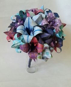 Paper Flower Origami Wedding Bouquet Beach Ocean Theme Lilies Tulips Daisies £75.00