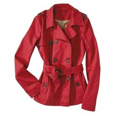 Coffee Shop Junior's Double Breasted Trench Coat -Red