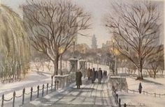 Winter Boston scene my watercolor