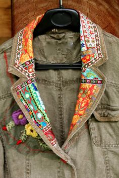 Folk recycled appliqued linen jacket by jamfashion on Etsy by kari Diy Clothing, Sewing Clothes, Recycled Clothing, Remake Clothes, Recycled Fashion, Linen Jackets, Denim Jackets, Altered Couture, Altering Clothes