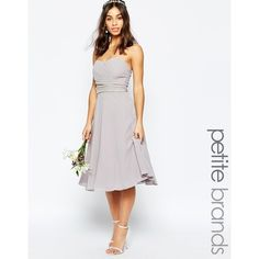TFNC Petite WEDDING Embellished Waist Prom Dress ($45) ❤ liked on Polyvore featuring dresses, wedding dresses and grey