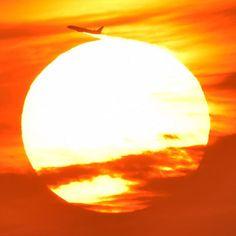 """Sunset...✈️☀️""""Chiba Japan"""" *  おつかれさまです💐(^ ^)今日は屋上から夕焼け撮ってたのですがジョットが夕陽をかすめて行きました(*^^*)よい週末をお過ごしください💐01/08日 16:30分に撮影 #夕空倶楽部#東京カメラ部#夕焼け#千葉県#飛行機"""