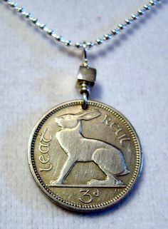IRISH CELTIC RABBIT coin necklace pendant. Eire Rabbit vintage coin with sterling silver bail
