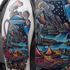 Gary Dunn - Traditional color camping coffee kettle with campsite tattoo, Gary Dunn Art Junkies Tattoo