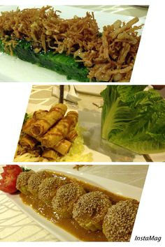 2-styles vege, spring rolls with Roman Lettuce, stuffed sweet corn with home made sauce