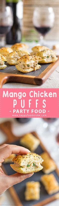 Mango Chicken Puffs are easy puff pastry appetizers ready in under 30 minutes. Perfect bite size party food recipe with simple ingredients via @happyfoodstube