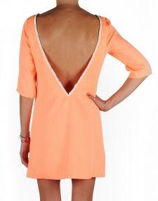 Robe Dos Nu V Perlée Orange