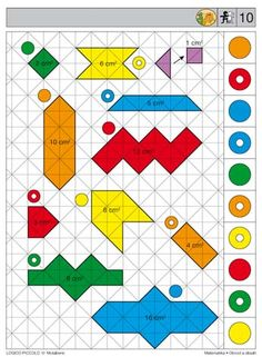 Soubor Logico Piccolo - Matematika Obvod a obsah Vhodné pro děti od 7 - 9 let… Numicon, Sequencing Cards, Brain Activities, Speech Therapy, Kids Rugs, Math, Games, Holiday Decor, Pattern