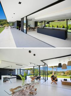 Modern Architecture Discover See Inside The Home This Architect Designed For Her Own Family The main living area of this home is open to the backyard with large overhangs providing shade for the interior important for those hot Australian days. Skylight Design, Indoor Outdoor Living, Outdoor Lounge, Minimalist Interior, Minimalist Architecture, Modern Architecture House, Modern House Design, Modern Glass House, Style At Home